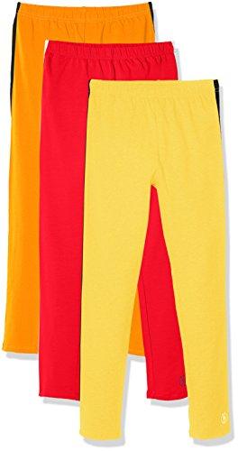 (Kid Nation Girls' 3 Pack Solid Cotton Stretch Side Stripe Legging L Red+Orange+Yellow)