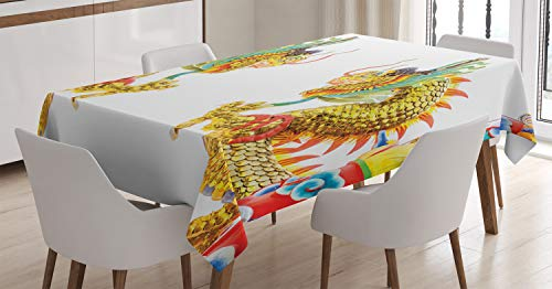 Ambesonne Dragon Tablecloth, Chinese Style Dragon Statue Ancient Power Asian Symbol Oriental Culture Theme, Dining Room Kitchen Rectangular Table Cover, 52 W X 70 L Inches, Yellow Orange