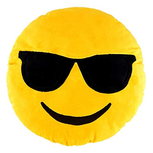 Sealive 36cm Emoji Pillow Cool Sunglasses, Large Yellow Smiley Emoticon Pillows for Sleeping, Decorative Pillows Bedroom Decor Kids Toys for Girls -