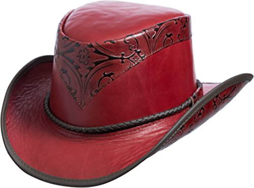 Overland Sheepskin Co Falcon Hand-Tooled Leather Cowboy (High Crown Cowboy Hat)