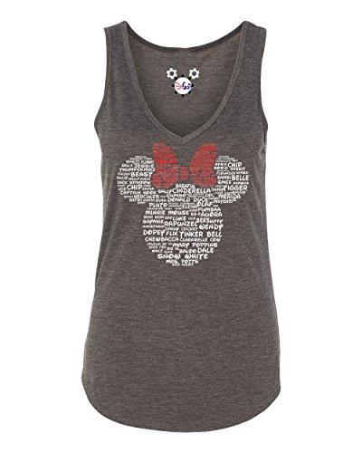 - Minnie Mouse Disney Adult Women and Ladies Character Name T-Shirt, Tank, Hoodie, Long Sleeve (Ladies Premium Soft, Slim Fit, V-Neck Tank, Dark Heather Grey, 2X-Large)