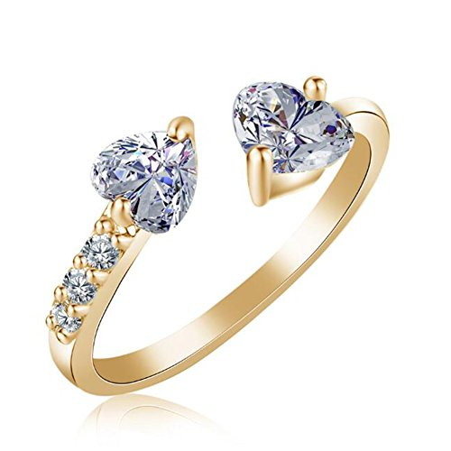 (TEMEGO Gold Plated 2 Heart Cut Tension Set CZ Adjustable Ring for Women,Cubic Zirconia Open Ring)