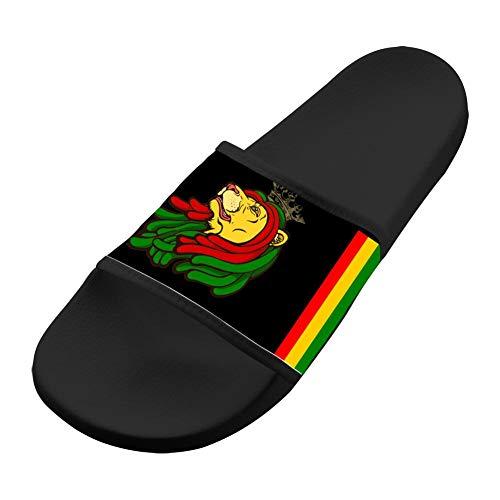 SsSEYYA Anti-Slip Indoor Floor Sandal Bath Slipper Jamaican Lion Red Yellow Green for Women Men Black Men 12 (M) US (Sonnenbrillen Online Shop)