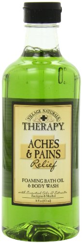 Village Naturals Therapy Foaming Bath Oil, Aches and Pains, 16 Ounce Aromatherapeutic Mineral Bath