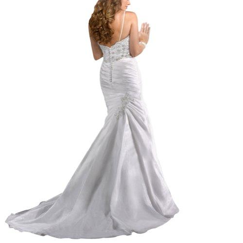 Weiß Sexy Hochzeitskleider Taft Mieder GEORGE Kapelle Buegel Spaghetti Zug Schatz Brautkleider Spitze BRIDE aqn551fA7Z