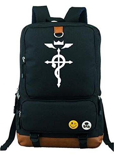 YOYOSHome Anime Fullmetal Alchemist Cosplay Luminous Bookbag College Bag Backpack School Bag (Black 2)