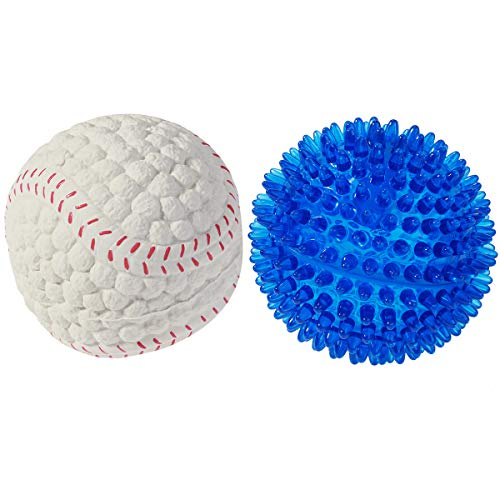 POPETPOP 2 Pack Dog Squeaker Ball Dog Outdoor/Indoor Play Toy Indestructible Balls for Pets Puppy Small Medium Chewers (Blue and Beige)