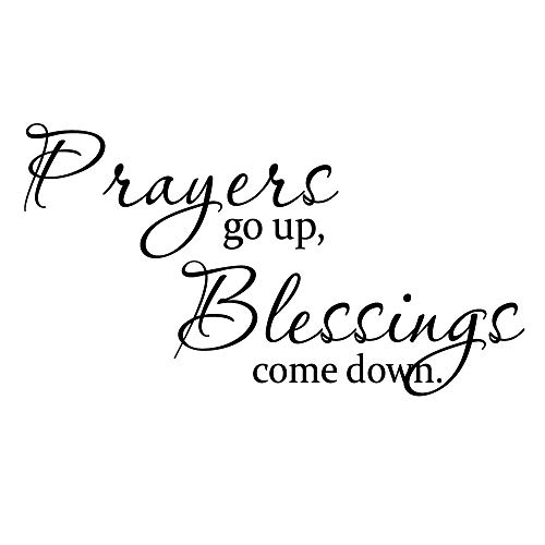 KYSUN Prayers go up, Blessings Come Down Vinyl Wall Decal Inspirational Quotes Lettering Faith Motto Art Letters Room Décor