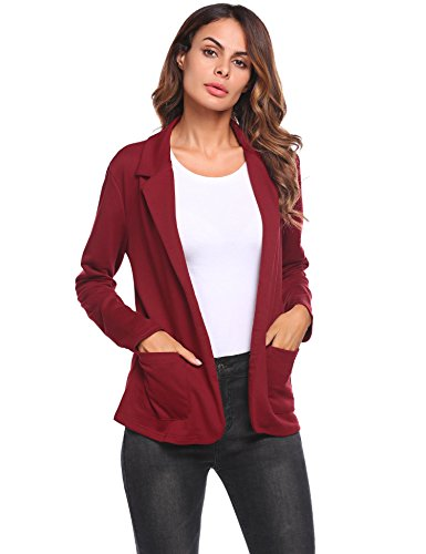 (Zeagoo Women Casual Long Sleeve Blazer Open Front Cardigan Jacket Work Office Blazer Wine Red XL )