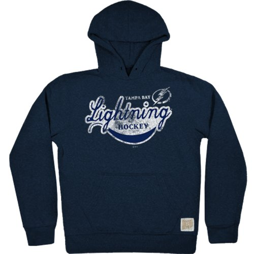 NHL Tampa Bay Lightning Men's Tri-Blend Fleece Hoodie, Large, Navy - Lightning Fleece Hoodie