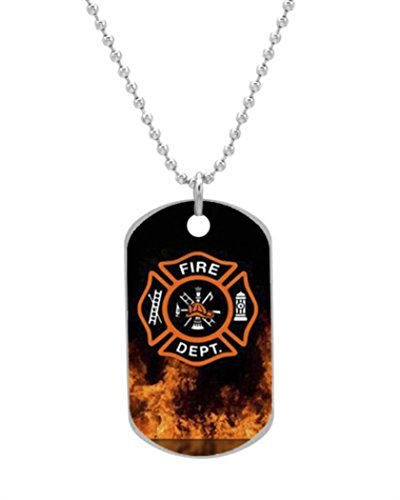 Firefighter Symbol with Flames Fireman Emblem ClinaAy Custom Dog Tag Dimensions 1.3X2.2X0.1 inches ,Comes with 30