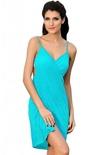 Amoretu ® Womens Stylish Backless Cross Front Multifunction Cover-up Beach Dress,One Size,Sky Blue