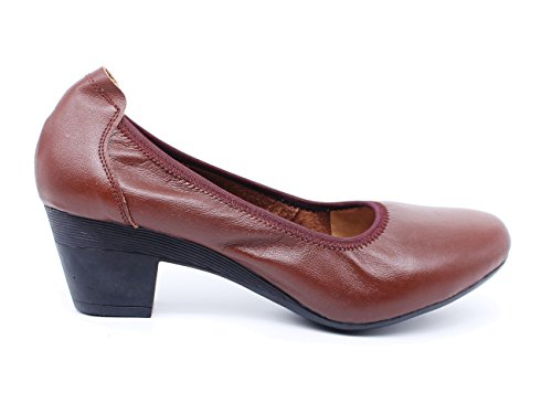 Bloc Professionnelles Femme Cuir Ubeauty Escarpins À 40mm Talon Pumps Hauts Confortable Sexy Marron Chaussures wHwq0I