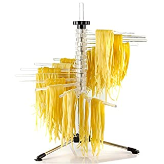 Ovente Collapsible Pasta Drying Rack with BPA-Free Acrylic Rods, Spaghetti and Noodle Dryer Rack, Easy Storage Compact and Quick Set-Up for Home Use Perfect for Homemade Noodle and Pasta ACPPA900C