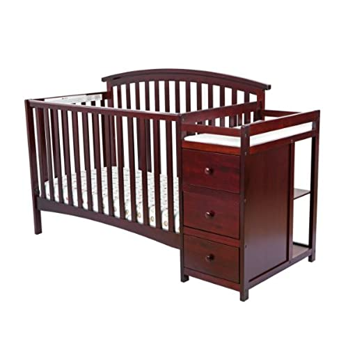 Dream On Me Niko 5 In 1 Convertible Crib With Changer, Cherry