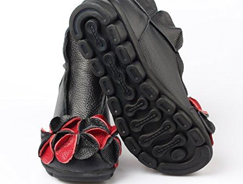 Mordenmiss Womens Round Topline With Unique Handmade Flower Leather Shoes Black SnYrllttjQ