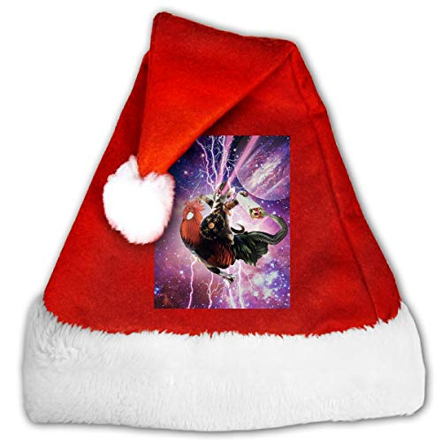 (Space Cat Riding Chicken Funny Christmas Hat Childrens and Adults Party)