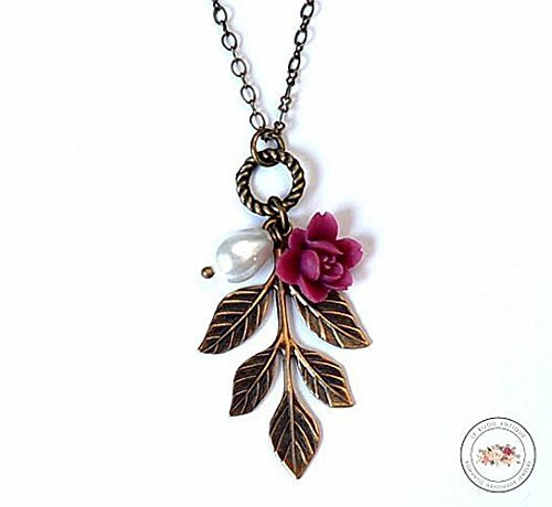Leaf necklace in antique bronze with burgundy Flower and white glass teardrop pearl Teardrop White Wine