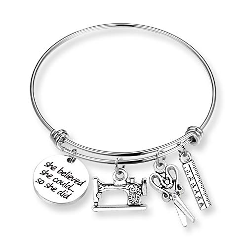 ZNTINA Sewing Bracelet Sewing Scissors Bangle She Believed She Could Sewing Lover Gift Inspirational Sewing Jewelry (BR- She Believed, Sewing)