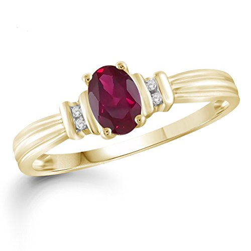 Jewelexcess 0.45 CTW Genuine Ruby Gemstone and Accent White Diamond Ring in 14k Gold Over Silver