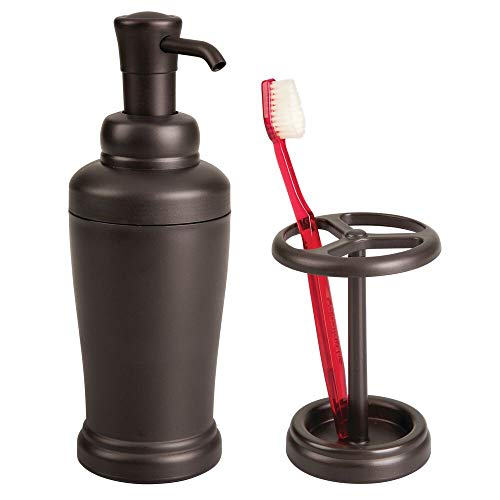 mDesign Decorative Bathroom Vanity Countertop Accessory Set - Includes Refillable Soap Pump Dispenser, Divided Toothbrush Holder - for Bathroom, Kitchen Sinks - Set of 2 - Bronze