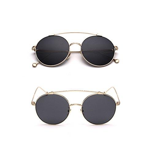 Fashion YT Mar Unisex Trend Marco Classic Película ceniza de Gafas Simple negro de dorado Sol 44aqHTU