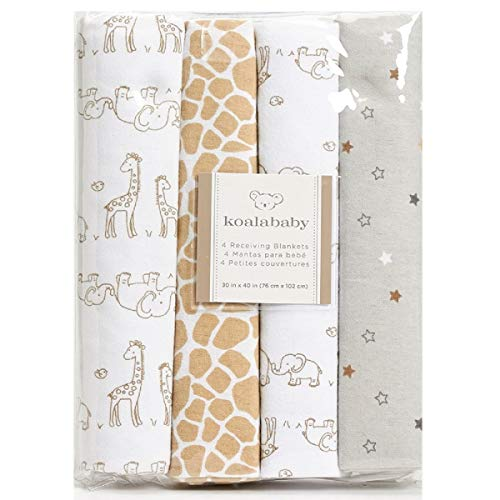 Koala Baby 4-Pack Flannel Receiving Blankets (Brown Elephant & Giraffe) ()
