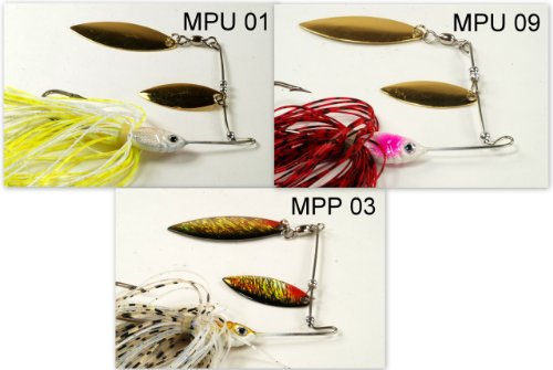 Akuna [3MPP] Pack of Three Mixed Colors Custom Hand Painted Holographic Fishing Lures with Twin Willow Blades, 1/2 oz (Hand Painted Lures)