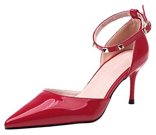 Rosso Alti Studded Alla Punta Sandali Caviglia Cinturino D'orsay Tacco Donna Scarpe Di Tacchi Bigtree Con xHwqgC06