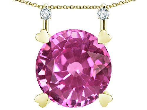 Star K Round 7mm Created Pink Sapphire Stackable Mothers Hearts Pendant 10 kt Yellow Gold