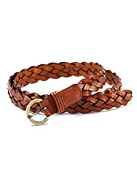 Nanxson(TM) Women's Skinny Braided Elastic Stretch Belt PDW0013 (light brown)