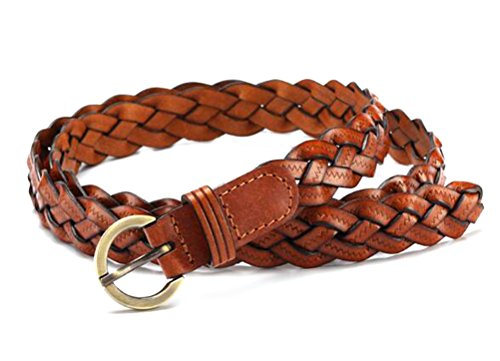 Nanxson(TM) Women's Skinny Braided Elastic Stretch Belt PDW0013 light brown