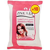 Ziva Hygienic Feminine Wipes, Pack of 10 x 25 Sheets, (250 Wipes)