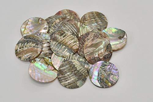 JumpingLight 5 PCS UNDRILLED Round Abalone SEA Shell Blank DISC Coin 35mm #T-436 Beach Wedding Nautical Decor Crafts - Beach Nautical