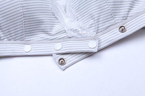Three Breastfeeding hexingshan Grey Bra button Open RwZx5qZg