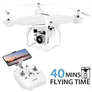 40Mins Flight Time Drone, JJRC H68 RC Drone with 720P HD Camera Live Video FPV Quadcopter with Headless Mode, Altitude Hold Helicopter with 2 Batteries(20Mins + 20Mins)-White 41qT2Vm6LiL