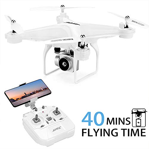 Best 40Mins Flight Time Drone, JJRC H68 RC Drone with 720P HD Camera Live Video FPV Quadcopter with Headless Mode, Altitude Hold Helicopter with 2 Batteries(20Mins + 20Mins)-White