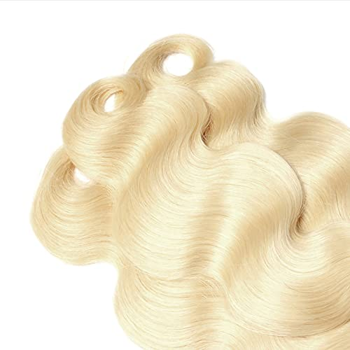 HXS Wave Human Hair Bundles for Women, Human Hair Bundles with Lace Closure, Unprocessed Brazilian Hair Wave Bundles, Natural Golden /Brown/Red Color Wavy Hair Extensions,18/20/22/24In