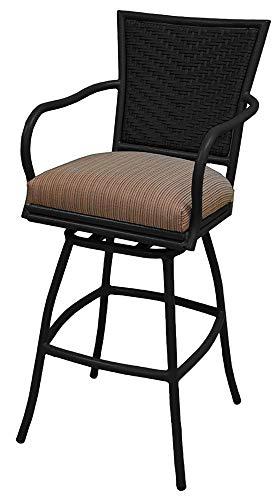 Seat Swivel Spectator Stool - Erin 35inch Terracotta Black Frame Spectator Height Extra Tall Outdoor Bar Stool