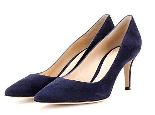 65MM Mid Navy Slip Work Heels Leather Stiletto Patent Womens Pointed Suede suede Shoes 5cm 6 uBeauty Pumps heel Court Or Toe On Ta8n4w8qx