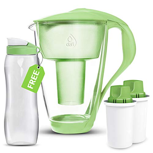 Dafi Alkaline UP Crystal Pitcher 8 cups – Highest Quality Water Pitcher made from Borosilicate Glass – Set with 2 Alkaline UP Water Filters and FREE 24 fl oz Sport Bottle for better hydration (Green)