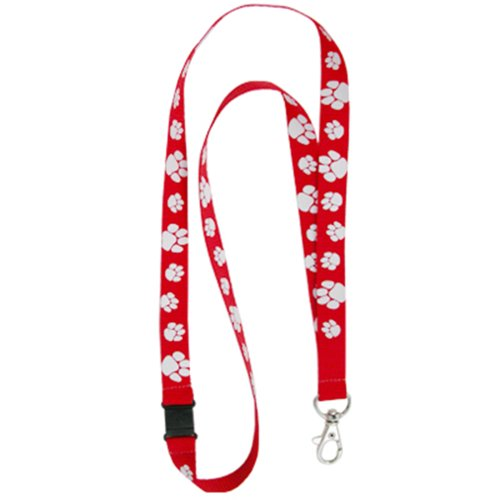 PinMart's Red and White Paw Print School Mascot Sports Lanyard w/ Safety Release by PinMart (Image #1)