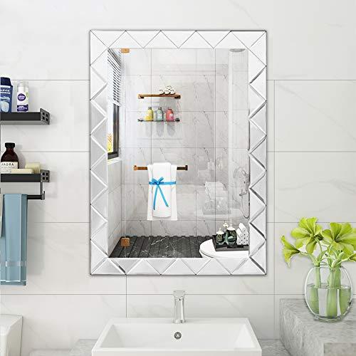 "WATERJOY Large Framed Rectangular Bathroom Mirror, Sliver Vanity Glass Wall Make-up Mirror, 31""x22"" (Silver)"