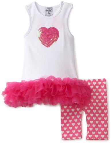 Mud Pie Baby-girls Newborn Heart Tunic and Biker Short Set, Pink/White, 2T-3T