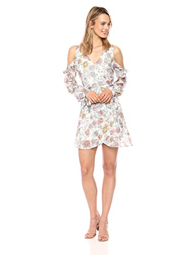 Ivory Cold J Dress Wrap Women's O A Shoulder Floral Mini Faux qqxpwazUA