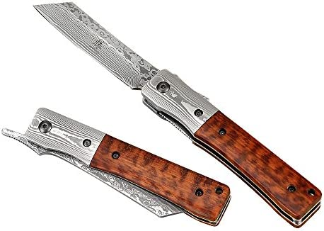 KATSU Handmade Damascus Steel Japanese Razor Pocket Folding Knife with Snake Wood Handle and Damascus Bolster