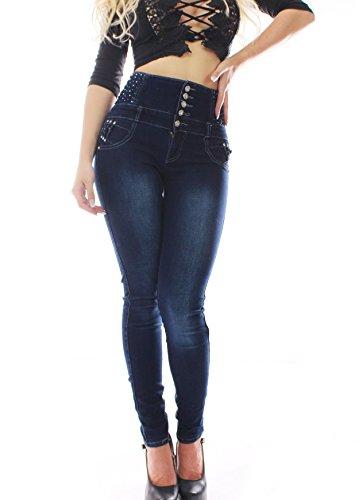 ZARINA®Denim Pantalones, Jeans, vaqueros de mujer,Push up / Levanta cola,Pantalones vaqueros elásticos colombiano 1397,color azul con talla 34-48,XS-XXXL Azul