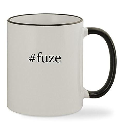#fuze - 11oz Hashtag Colored Rim & Handle Sturdy Ceramic Coffee Cup Mug, Black (Fuze Peach Mango)