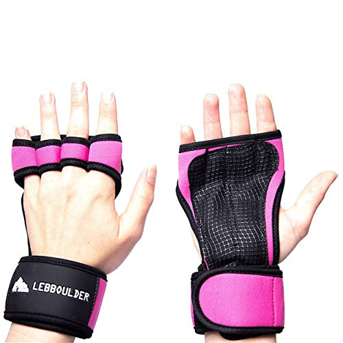 LEBBOULDER Cross Training Gloves Wrist Support WODs,Gym Workout,Weightlifting & Fitness-Silicone Padding, No Calluses-Suits Men & Women-Weight Lifting Gloves a Strong Grip (Pink, X-Small)