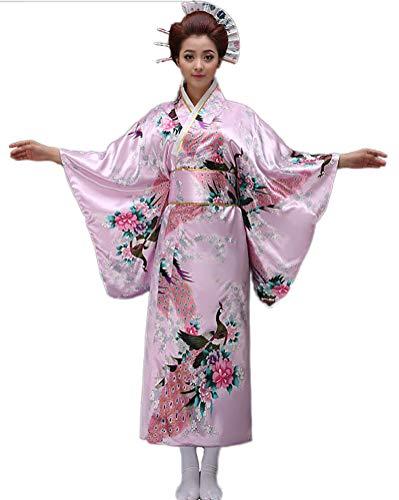 Soojun Womens Traditional Japanese Kimono Style Robe Yukata Costumes,Style1: Pink,US 2-10]()